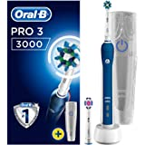 Oral-B Pro 3 3000 CrossAction Electric Toothbrush Rechargeable Powered by Braun, 1 Handle, 2 Modes - Daily Clean, Sensitive, Pressure Sensor, 2 Toothbrush Heads