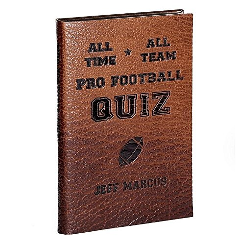ALL-TIME ALL-TEAM PRO FOOTBALL QUIZ Special Edition Football Book Genuine full-grain Bison-Brown Leather by Graphic Image™ - Pro Image Graphics