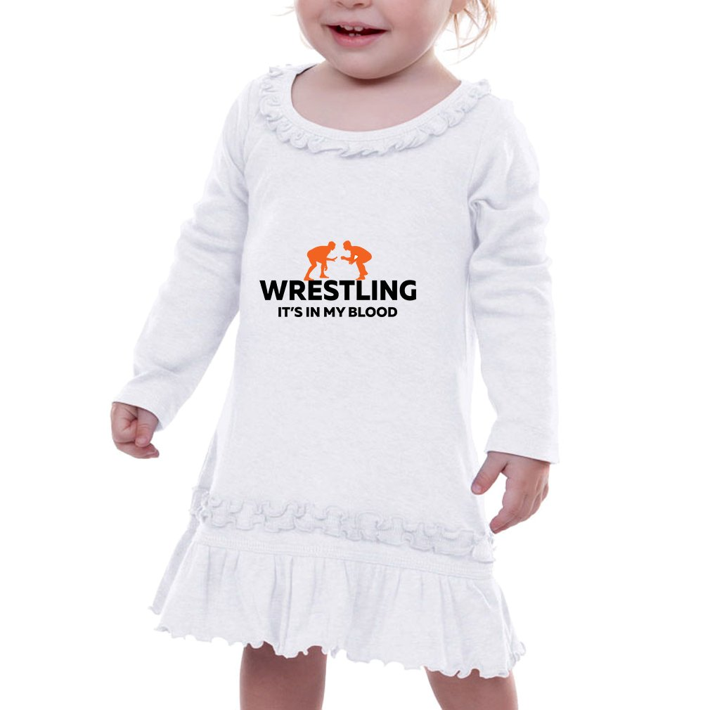 Wrestling It'S In My Blood Infants Sunflower Long Sleeve Dress White 12 Months by Cute Rascals