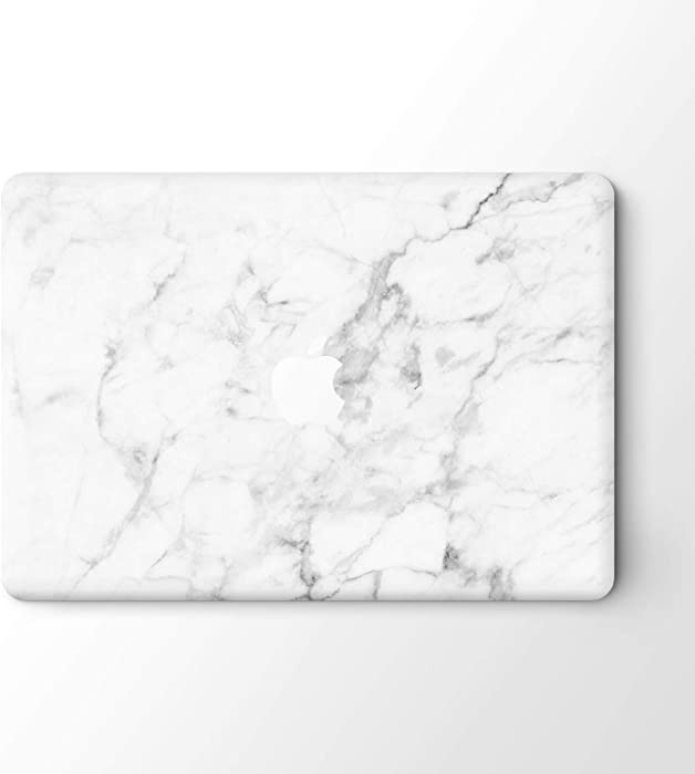 "DowBier MacBook Decal Vinyl Skin Sticker Cover Anti-Scratch Decal for Apple MacBook (MacBook Pro 13""/Inch Retina(A1425,A1502), White Marble)"