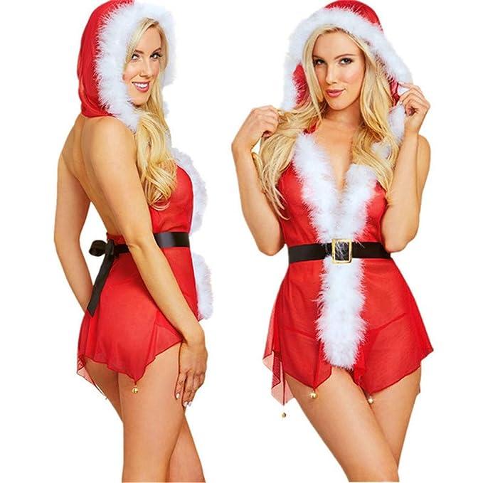 ❤ Vestido de lencería de Las Mujeres Navidad, lencería Sexy de Las Mujeres Rendimiento de Navidad Campanas Ropa Interior con Capucha Vestido Tanga ...
