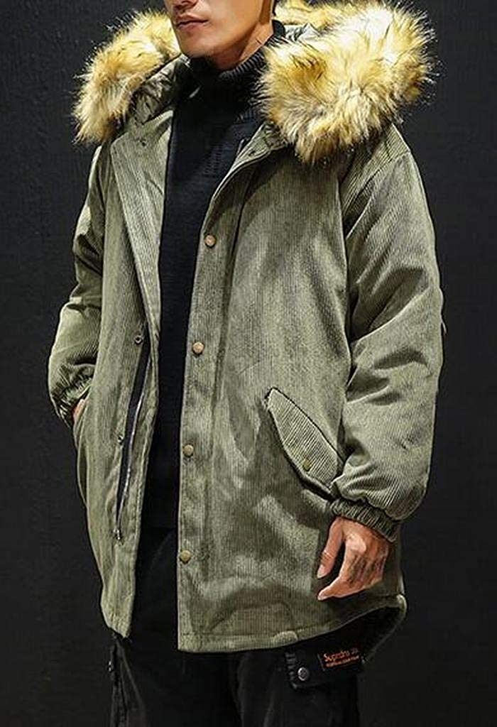 ARTFFEL Mens Corduroy Loose Hoodie Winter Plus Size Quilted Jacket Parka Coat Outerwear