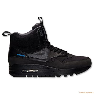huge selection of 399e9 e310e Amazon.com   Nike Air Max 1 Mid Sneakerboot Women s Waterproof Boots (12)  Black   Fashion Sneakers