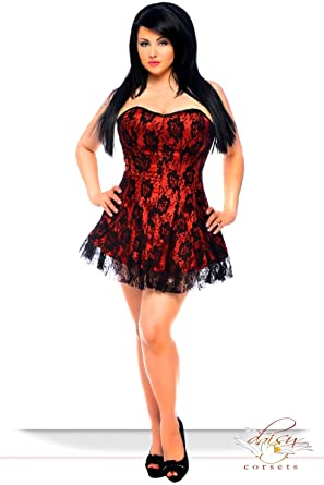 Daisy Corsets Plus Size Lavish Red Lace Corset Dress