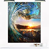 Design Art MT10918-30-40 Colored Ocean Waves Falling Down Modern Seashore Metal Wall Art,Blue,30x40