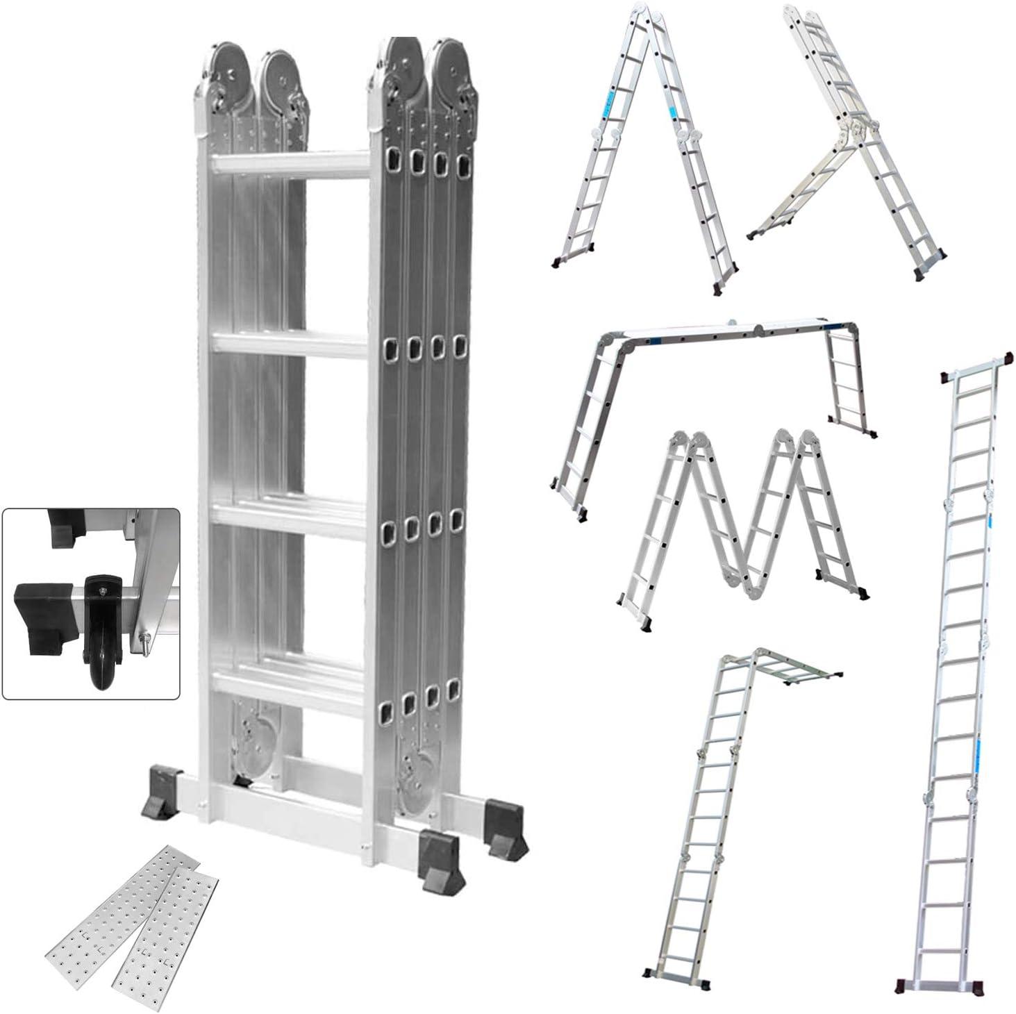 HENGMEI 4.7m 6 en 1 Escalera de Aluminio Multifuncional Plegable Escalera con Plataforma 4x4, Cargable hasta 150 kg: Amazon.es: Iluminación