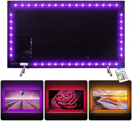 Tira LED 2.2 m, Tiray Ledy Tiras LED Sincronización de Música Multicolor Retroiluminación de TV USB