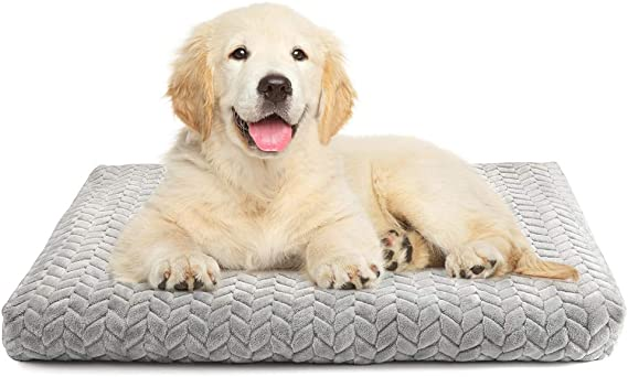 """rabbitgoo Dog Bed Crate Pad 29"""" x 21"""" with Removable & Machine-Washable Cover, Super Plush Dog Crate Mat with Anti-Slip Bottom, Medium Large Pet Kennel Bed Pad, Thick Soft Cotton Core for Sleeping"""