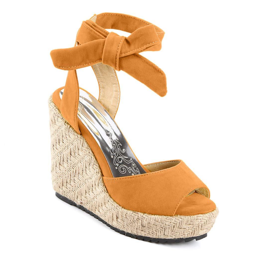 Womens Lace up Platform Wedges Sandals Classic Open Toe Ankle Strap Shoes Espadrille Sandals Khaki by sweetnice Women Shoes