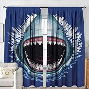 "NUOMANAN Pattern Curtains Shark,Attack of Open Mouth Sharp Teeth Sea Danger Wildlife Ocean Life Cartoon,Navy Blue Grey Fuchsia,Rod Pocket Curtain Panels for Bedroom & Kitchen 54""x84"""