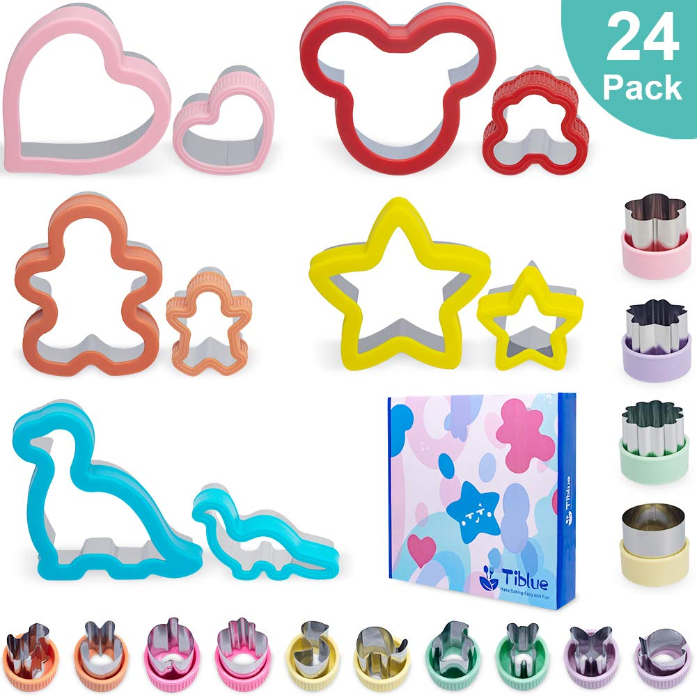 Sandwich Cutters Set 24 for Kids, Holiday Cookie Cutters Vegetable Fruit Cutter Shape for Boys & Girls with Micky Mouse, Dinosaur, Star, Heart, Gingerbread Man etc Shapes-Food Grade Stainless Steel