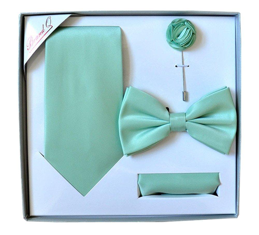 Men's Formal Aqua Pre-tied Bow Tie,Necktie,Lapel Pin & Hanky Set in Box