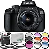 Canon EOS 4000D Digital Camera with 18-55mm f/3.5-5.6 III Lens 8PC Kit – Includes 3PC Filter Kit (UV + CPL + FLD) + 4PC Macro Filter Set (+1,+2,+4,+10) + MORE - International Version (No Warranty)