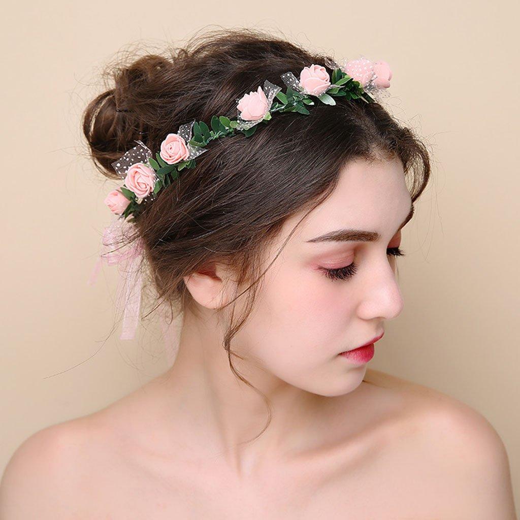 Wreath Flower, Headband Flower Garland Handmade Wedding Bride Party Ribbon Headband Wristband Hairband (Color : E) by Wreath