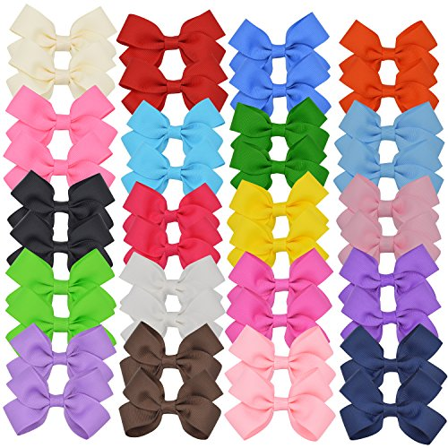 40 Toddler Ribbon Bows for Girls Hair / 3 Inch Bulk Bows Pairs with Alligator Clip for Babies Toddlers Little Girls and Teen - Uniform Pink Ribbon