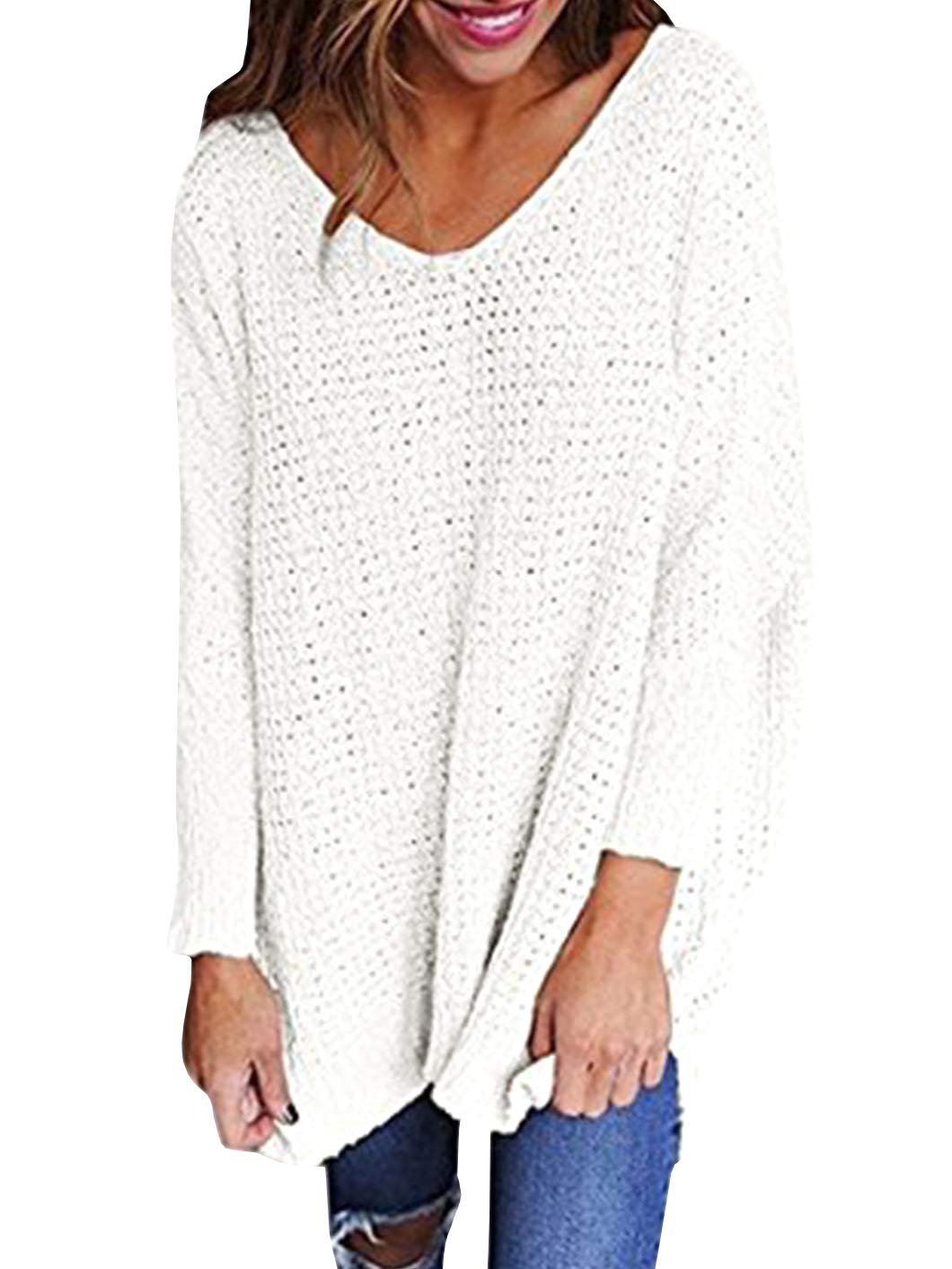 Chuanqi Womens Sweaters Oversized V Neck Loose Knit Pullover Long Batwing Sleeve Tops by Chuanqi (Image #1)