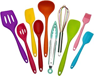 Kitchen Silicone Utensil Set, Cooking Tools 10Pcs,Food Grade Safety Mini Cookware, 480℉Heat Resistant,Seamless Easy to Clean, Used with Non-Stick Utensils (multicolor)