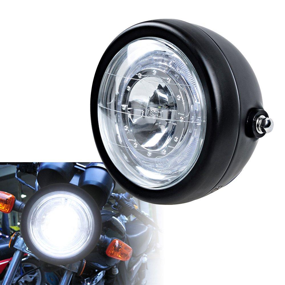 "Amazon.com: 6.5"" Motorcycle Glass Lens Side Mount CREE LED Headlight w/Halo  Ring for Honda Kawasaki Suzuki Yamaha Custom Bike: Automotive"