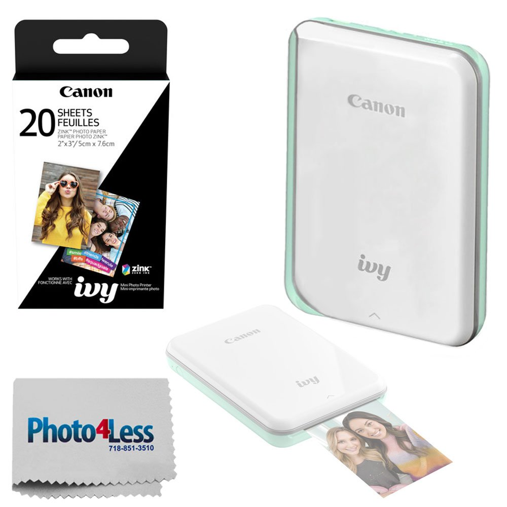 Canon Ivy Mini Mobile Photo Printer (Mint Green) - Zink Zero Ink Printing Technology - Wireless/Bluetooth + Canon 2 x 3 Zink Photo Paper (20 Sheets) + Photo4Less Cleaning Cloth - Deluxe Bundle