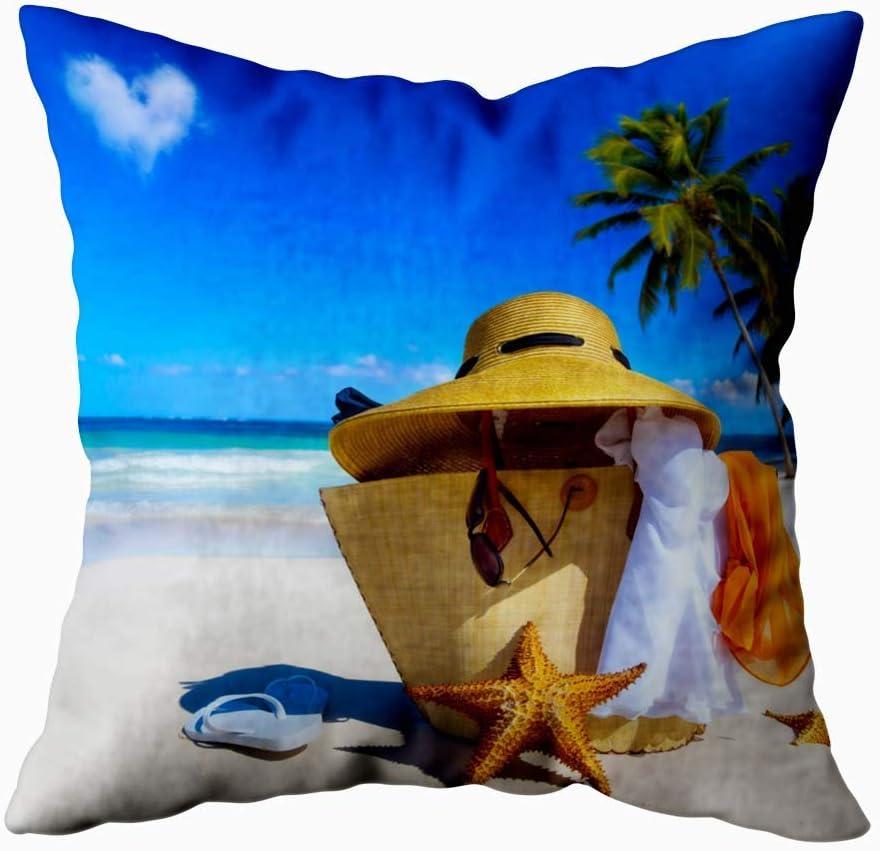 Green Haoke Funda de Almohada Cuadrada Art Sombrero de Paja Bolsa Gafas de Sol Chanclas Funda de Cojín de Playa Tropical Funda de Almohada Decorativa para Sofá Cama Coche 18×18 Pulgadas