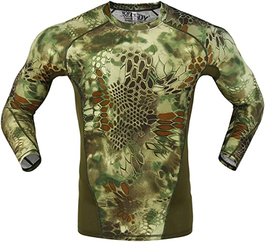 W&TT Camiseta de Combate táctica de Secado rápido para Hombres Camiseta de Manga Larga con Estampado de pitón Camisa Militar Camisa Transpirable Slim Fit Airsoft Army,Camo Green,XL: Amazon.es: Hogar