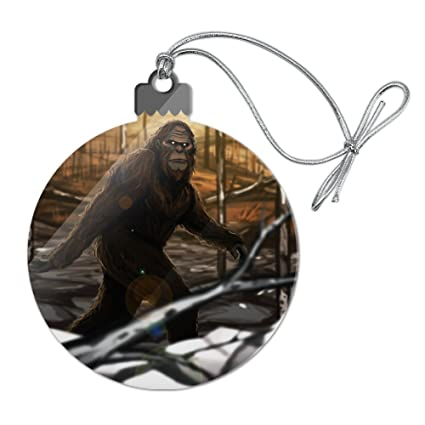 bigfoot sasquatch walking in the woods acrylic christmas tree holiday ornament - Bigfoot Christmas Ornament