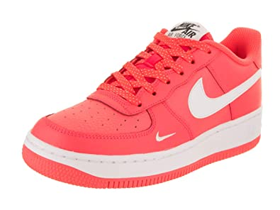 info for 34e59 ff260 Nike Fille Air Force 1 Basktetball Chaussures (GS) Hot Punch Blanc-Blanc