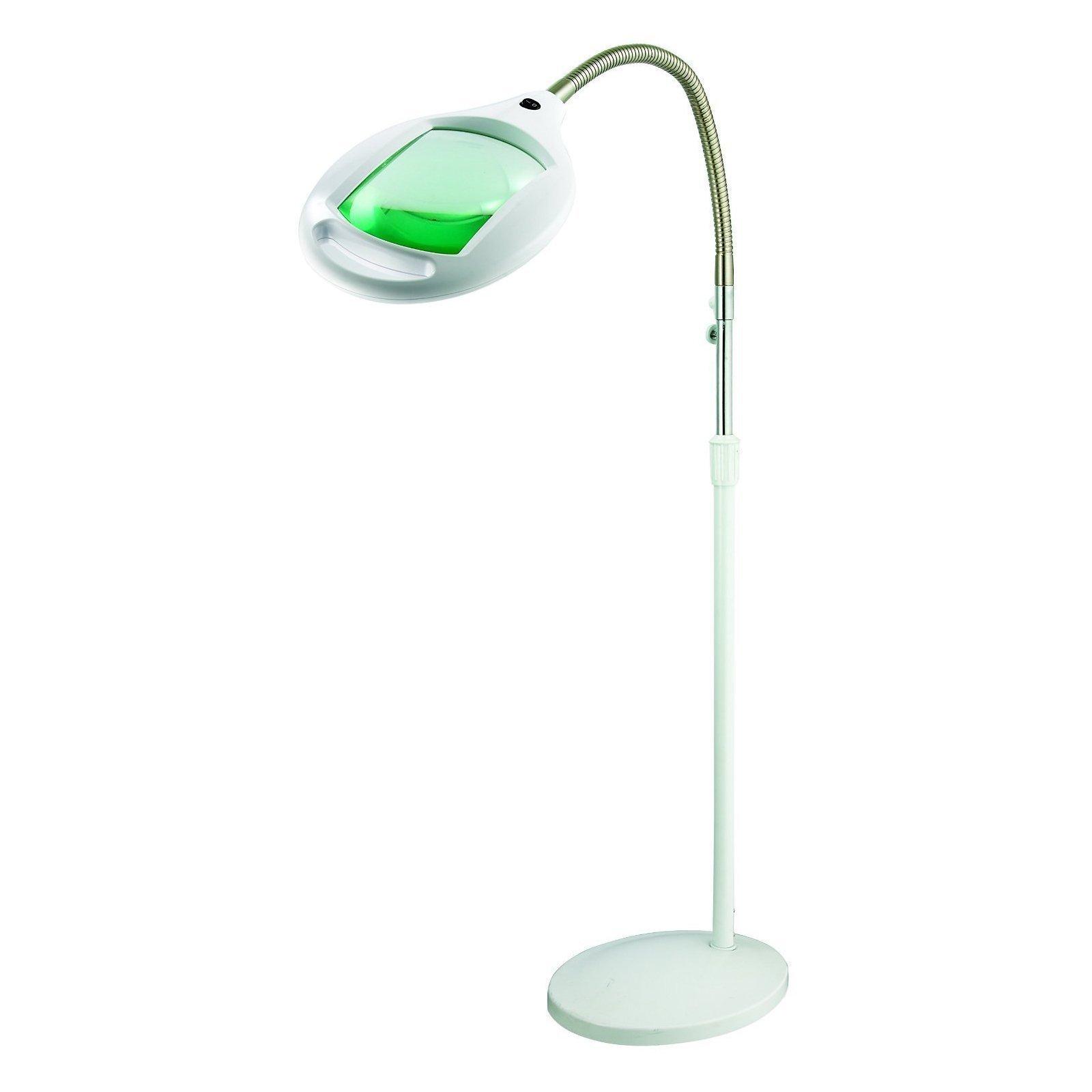 Brightech LightView Pro LED Magnifying Floor Lamp - Daylight Bright Full Spectrum Magnifier Lighted Glass Lens - Height Adjustable Gooseneck Standing Light - For Reading Task Craft Lighting - White (C