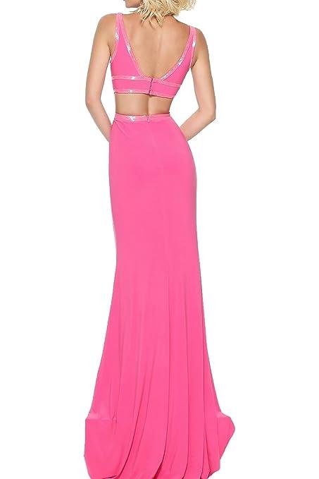 MILANO BRIDE Evening Prom Dress 2017 Slim Sheath V-neck Backless Sleeveless at Amazon Womens Clothing store: