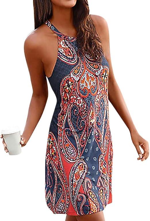 PinkLu sukienka damska sexy impreza, czas wolny, luźny pasek na szyję, nadruk w stylu boho, bez rękawÓw, luźna minisukienka plażowa, elegancka sukienka letnia, czarna/marynarska (S-XL): Odzie&