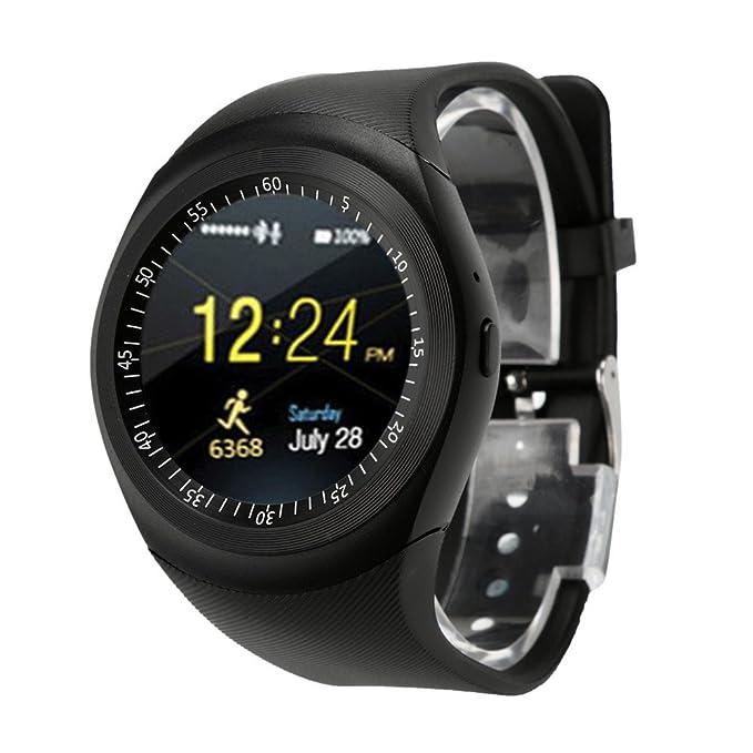 Preventosamente Smart Watch, Creativo Reloj Inteligente Bluetooth teléfono Mate Pantalla Completa Redonda SIM para Android para iOS, Negro: Amazon.es: ...