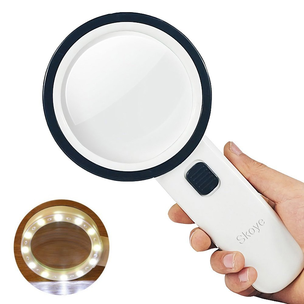 LED Handheld Magnifying Glass – Skoye 30X with 12 LED Lights Illuminated Magnifier, Read Easily at Night