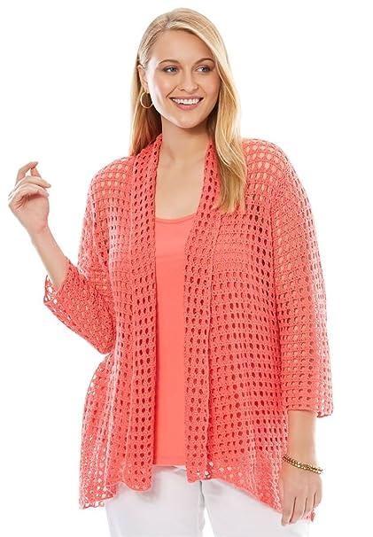 3d9de178a6a3b Jessica London Women s Plus Size Crochet Cardigan Sweater at Amazon Women s  Clothing store