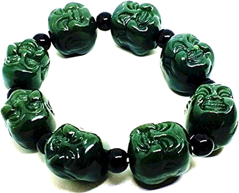 18mm–Natural oscuro verde jade tallado Buda pulsera de perlas