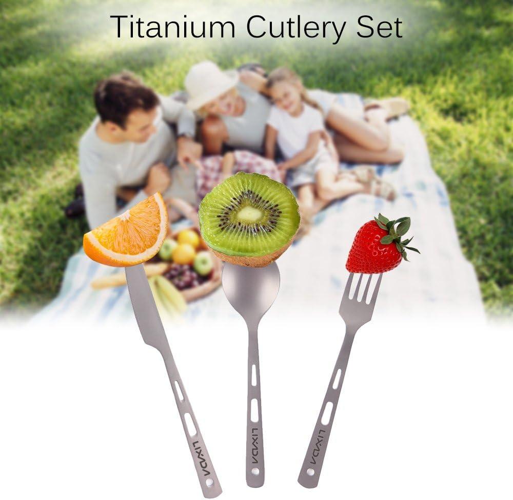 Lixada Cuberter/ía de Titanio Cuchara Cuchillo Tenedor 3Pcs para Picnic Camping al Aire Libre