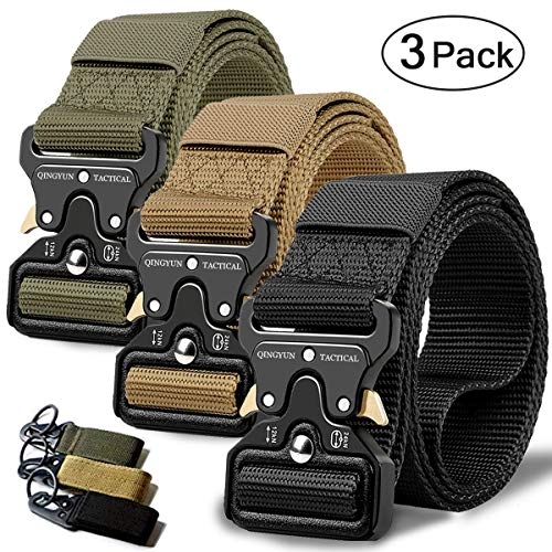 """QINGYUN RONGQI 3Pack Tactical Belt,Military Style Quick Release Belt,1.5"""" Nylon Riggers Belts for Men,Heavy-Duty Quick-Release Metal Buckle"""
