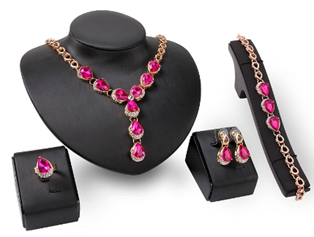 b00d344c0 Amazon.com  Richy-Glory - Ruby Sapphire Beads Collares Jewelry Sets For  Women  Jewelry