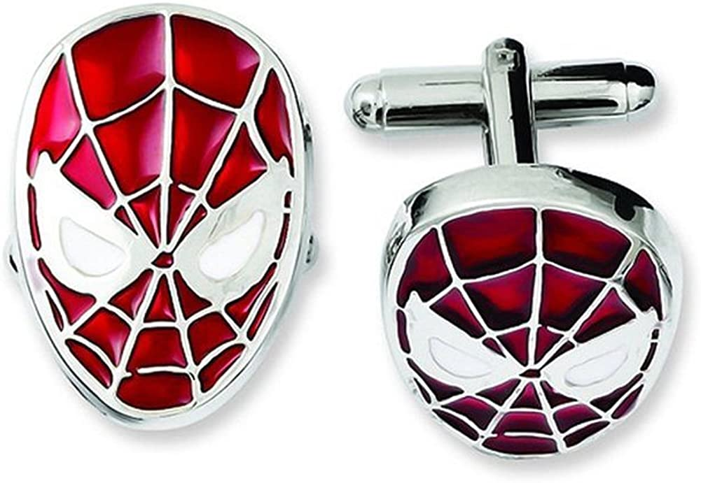 Jewel M Men's Cufflinks Marvel Comics Classic Spider-man Face Mask Silver Tone Cuff Links