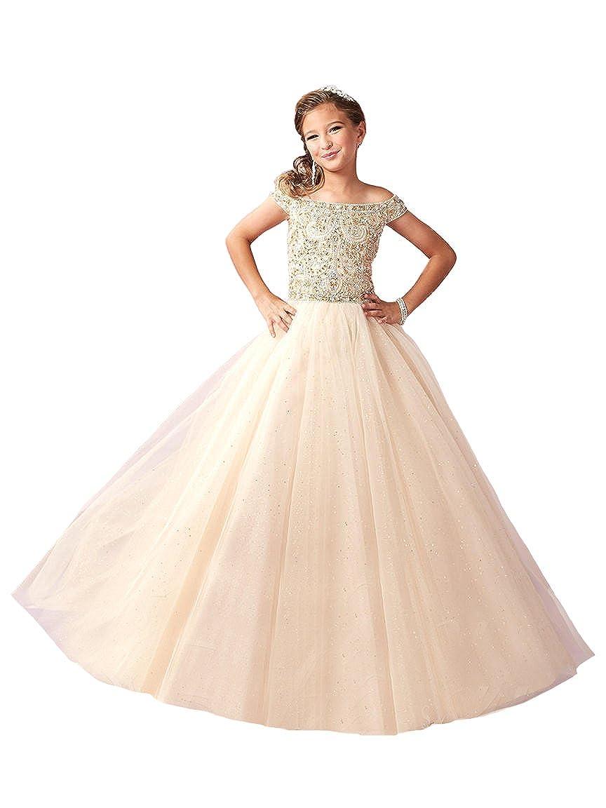 Amazon.com: Zhiban Little Girls Sparkle Tulle Glitz Princess Pageant ...