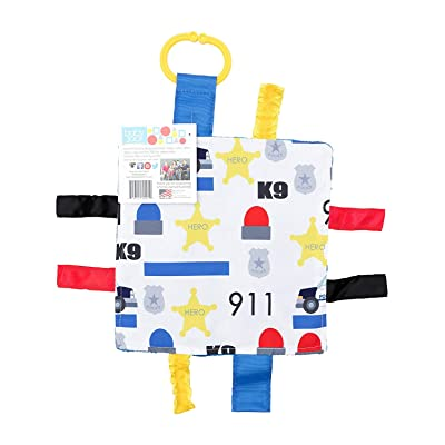 "Baby Sensory Crinkle & Teething Square Lovey Toy with Closed Ribbon Tags for Increased Stimulation: 8""X8"" (Police) : Baby"