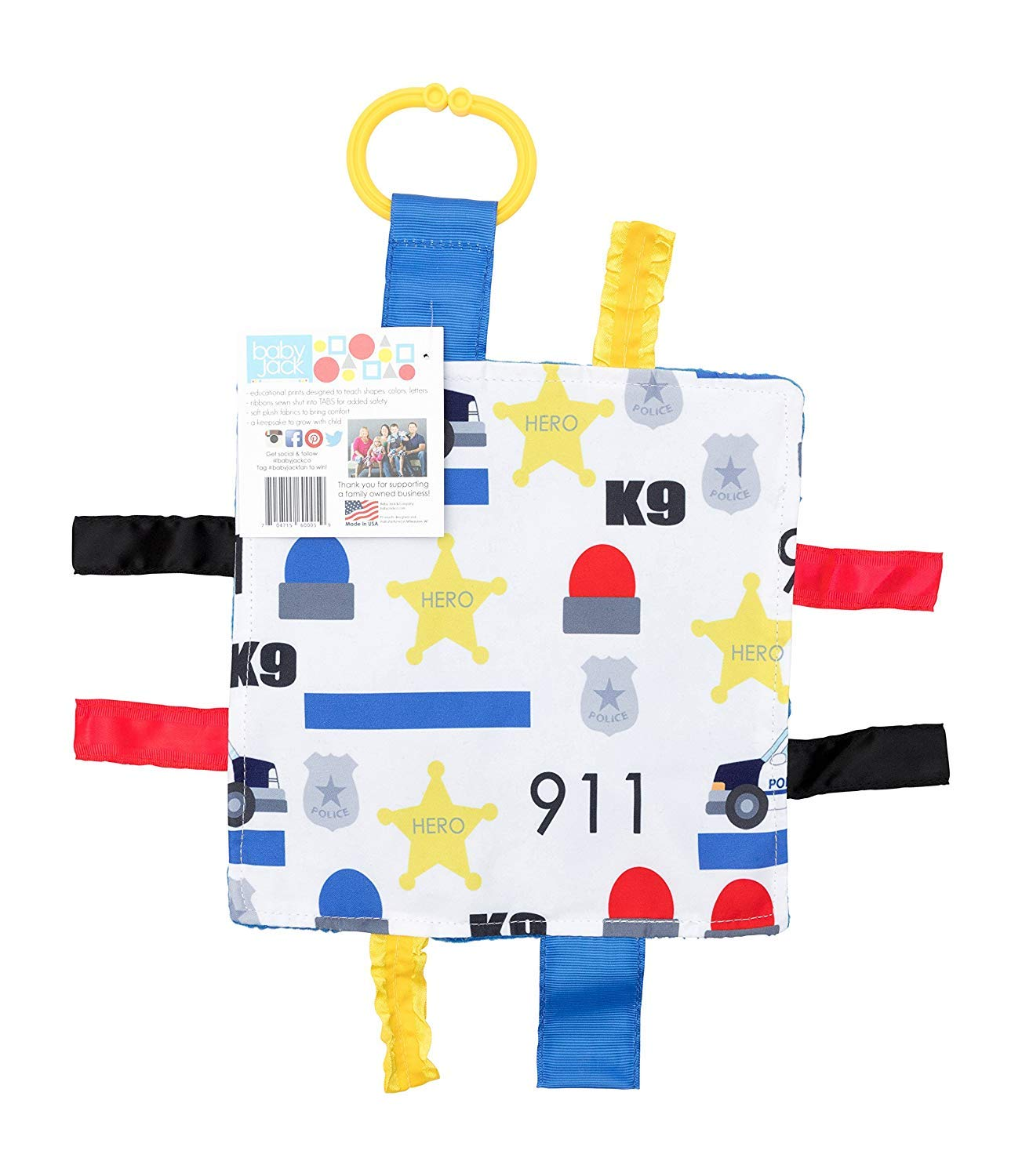 "Baby Sensory Crinkle & Teething Square Lovey Toy with Closed Ribbon Tags for Increased Stimulation: 8""X8""(Police)"