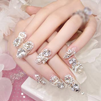 HuangHM 3D Bling Shining Glitter Diamond Rhinestone Pearls Design Full Cover Long Sharp Transparent Press On