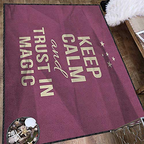 (Keep Calm Ultra Soft Indoor Area Rugs,Keep Calm and Trust in Magic Quote on Purple Crumpled Paper Image with Frame Anti-Static,Water-Repellent Beige Plum 71