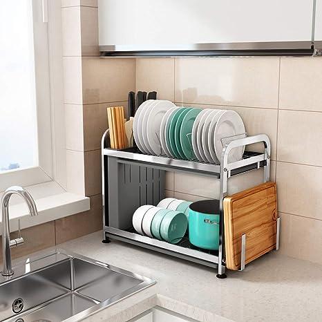 Barm 20 X 11 X 16 Inch Stainless Steel Dish Drying Rack With Drainage Board Kitchen Worktop Drain Rack Organiser With Utensil Holder D 50 X 27 X 40 Cm Amazon De Kuche Haushalt