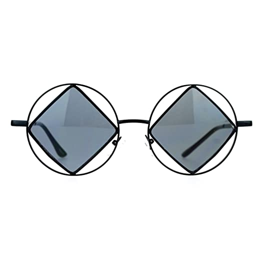 7252e67f6c5d Image Unavailable. Image not available for. Color  SA106 Womens Black  Runway Double Rim Circle Round Diamond Lens Sunglasses
