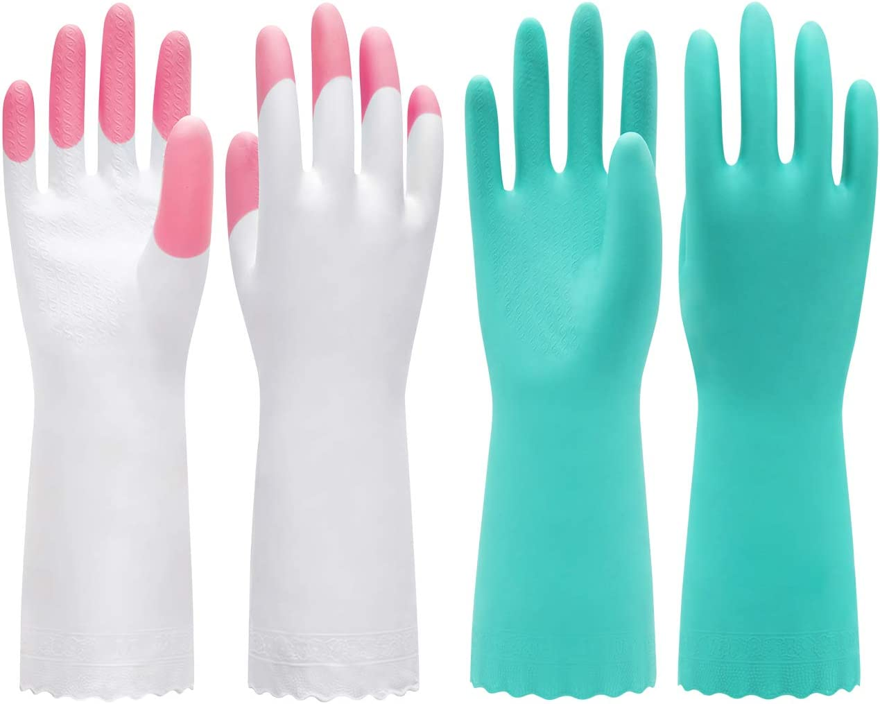 Pacific PPE 2 Pack Household Glove Mixed Package Reusable Cleaning Dishwashing Gloves-Latex Free Waterproof PVC Gloves for Kitchen,Gardening Gloves Unlined and Flocked with Cotton Liner(Pink&Green,M)