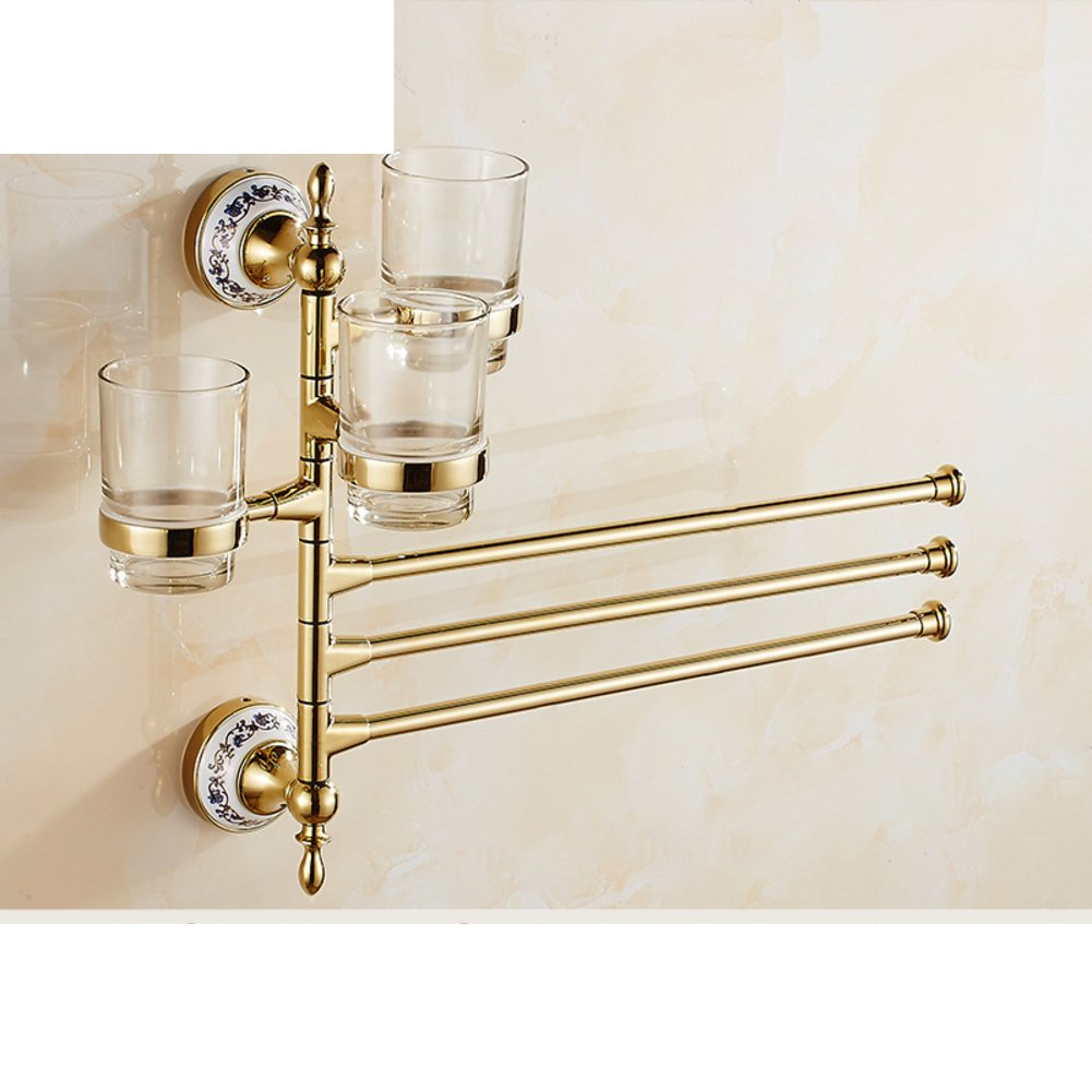 70%OFF Continental rotate towel rack/ Gold Events towel bar rack/Three four cup holders Bathroom Activities/gargle cup shelf-W