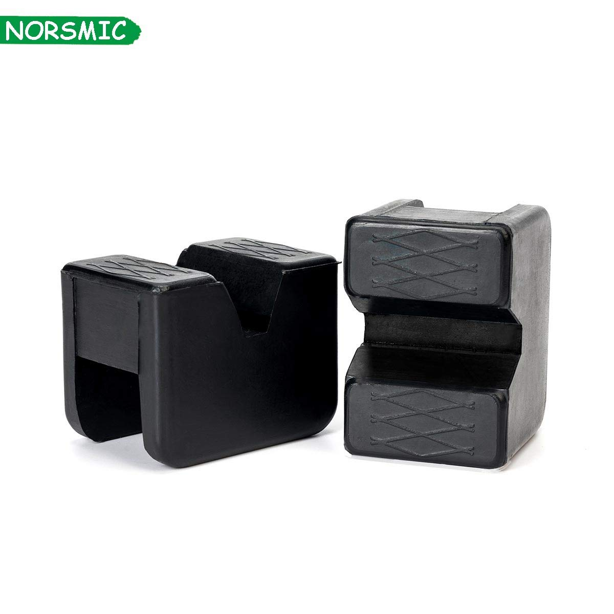 Norsmic Jack Stand Rubber Pad Slotted 2-Pack Dense Rubber Slip Oil Resistant 2-3 Ton Universal Frame Rail Guard Pinch Weld Adapter Cover Protector