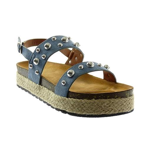 Blu 39 EU Angkorly Scarpe da Moda sandali con cinturino alla caviglia ykd