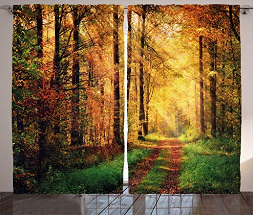 Modern Decor Curtains by Ambesonne, Autumn Forest Scenery with Rays of Warm Sun Lights on Shady Trees Woods Art, Living Room Bedroom Window Drapes 2 Panel Set, 108W X 63L Inches, Yellow Green